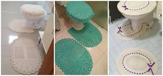 tapete de crochê simples para banheiro