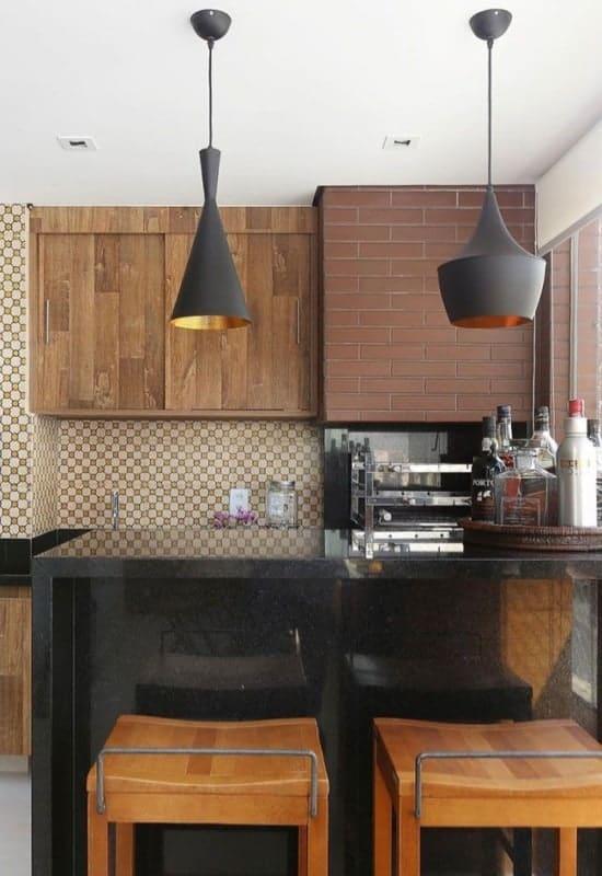 balcão de cozinha americana de granito preto São Gabriel