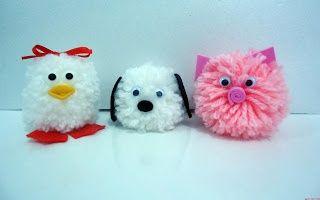 modelos de bichinhos de pompom de lã