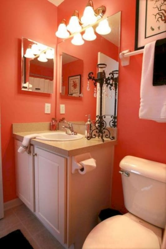 Banheiro com cor coral