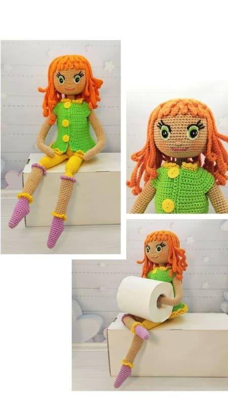 Boneca porta papel higiênico de crochê com cabelo laranja18