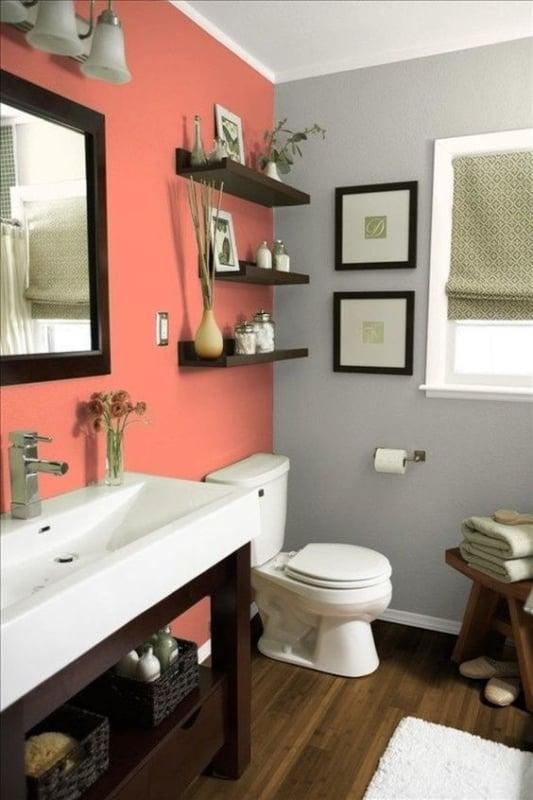 Cor coral com cinza no banheiro