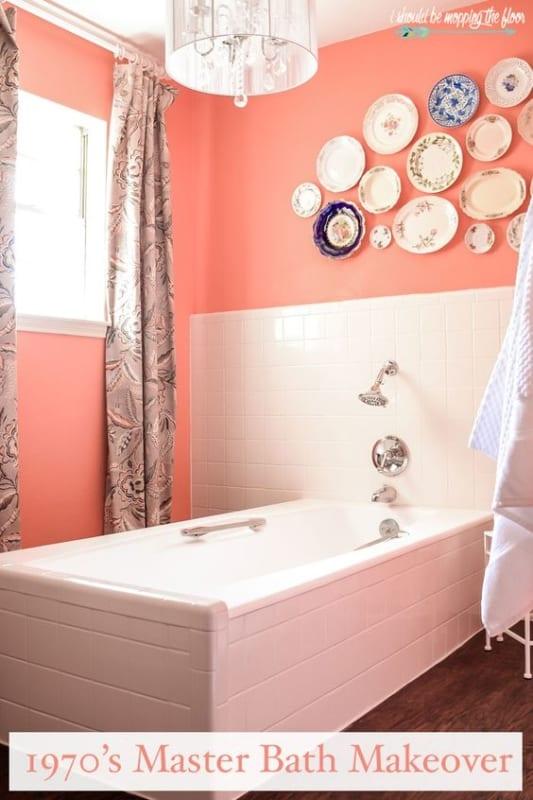 Cor coral mais clarinha no banheiro