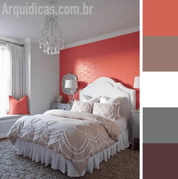 Cor coral para o quarto com cores claras