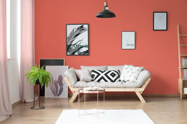 Coral em decoração minimalista