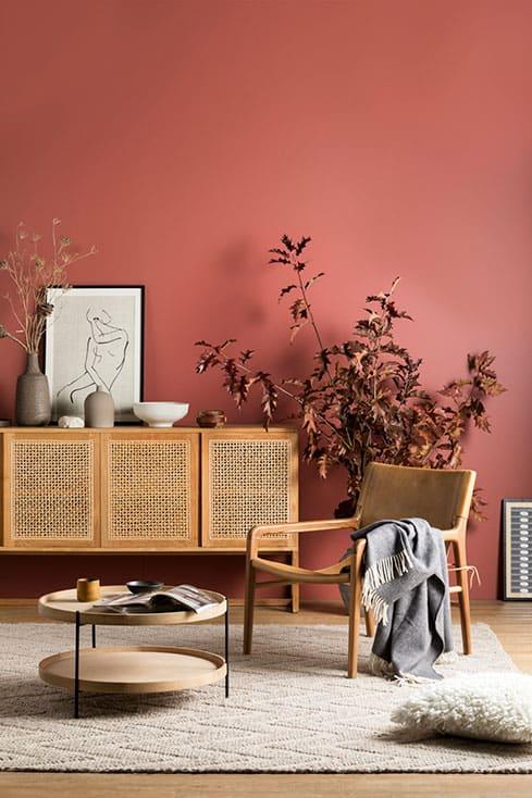 Coral na sala com móveis de madeira