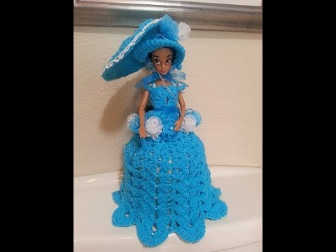 Porta papel higiênico com Barbie em vestido de crochet26