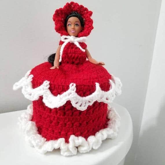 Porta papel higiênico com Barbie em vestido vermelho27
