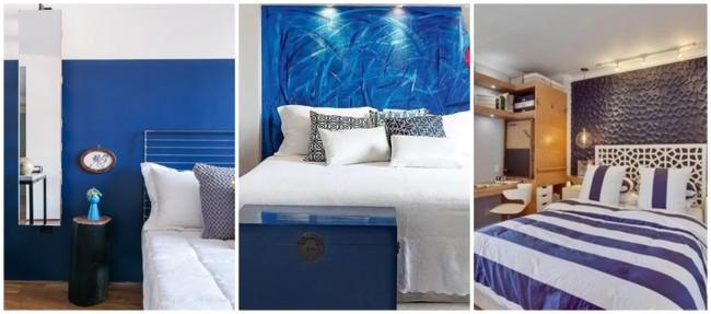 decoração em azul royal e branco
