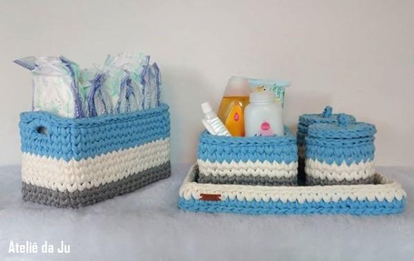 kit de cestos para quartinho de bebê em fio de malha