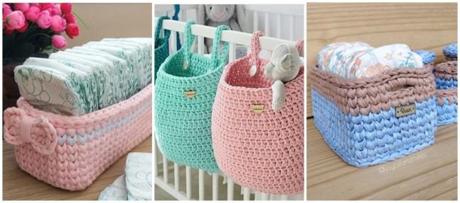 modelos de cestos de fio de malha para bebê