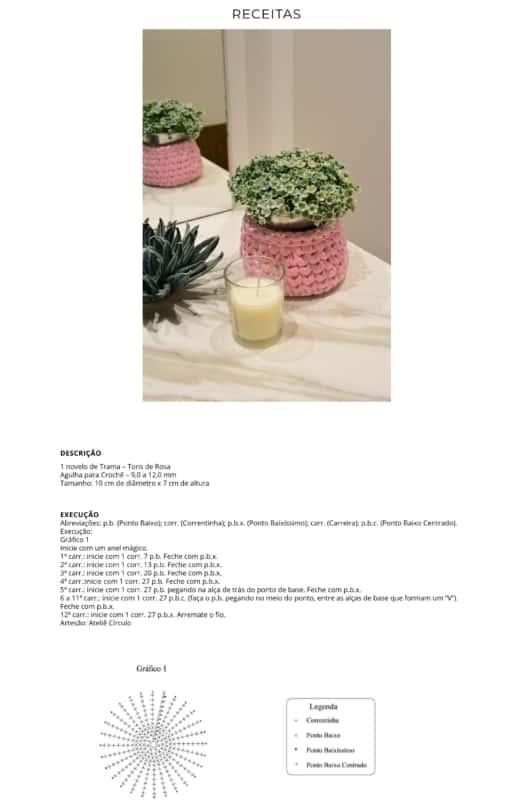 gráfico e receita para fazer cesto de fio de malha