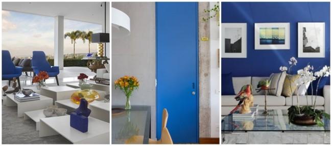 decoração em azul royal e cinza