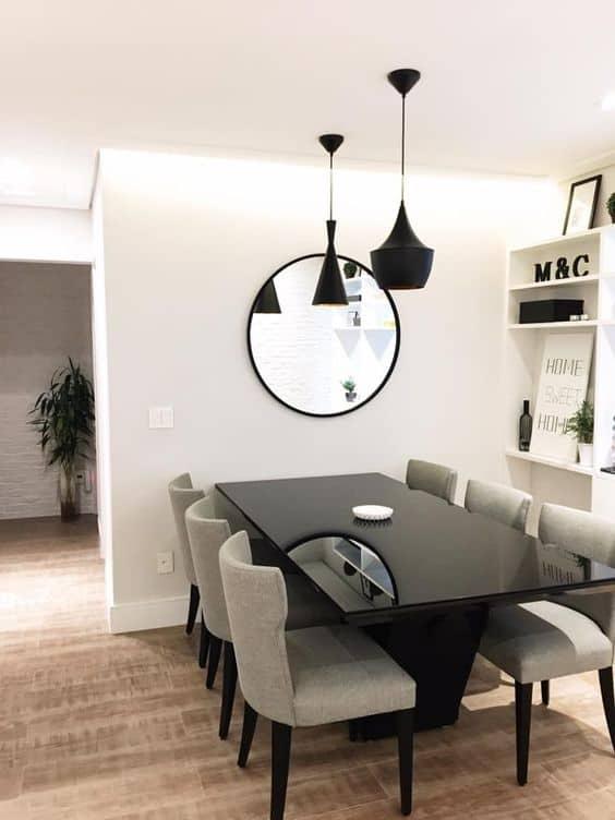sala de jantar moderna com mesa preta
