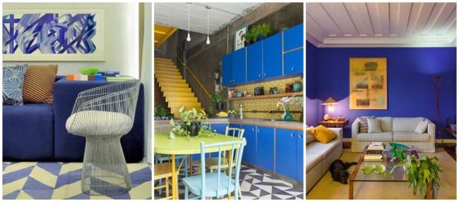 decoração em azul royal e amarelo