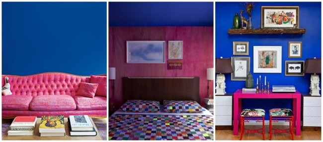 decoração em azul royal e pink