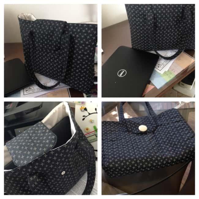 Bolsa em tecido estampado escuro para carregar notebook