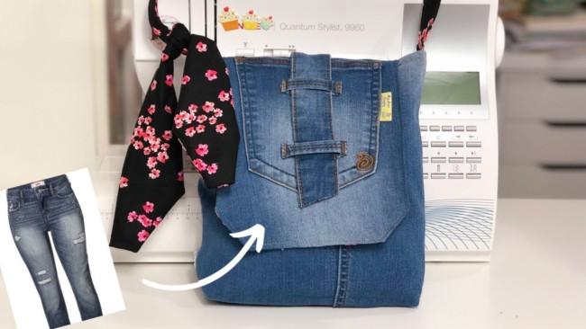 Bolsa pequena feita com calça jeans