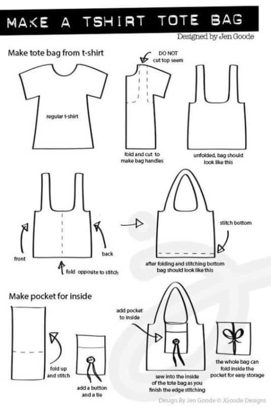 Bolsa sacola feita de camiseta