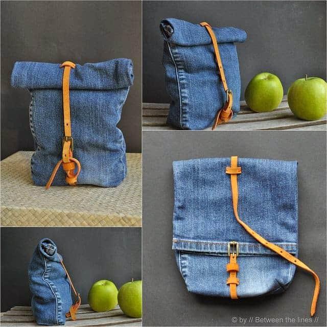 Customização de calça jeans para transformar em bolsa