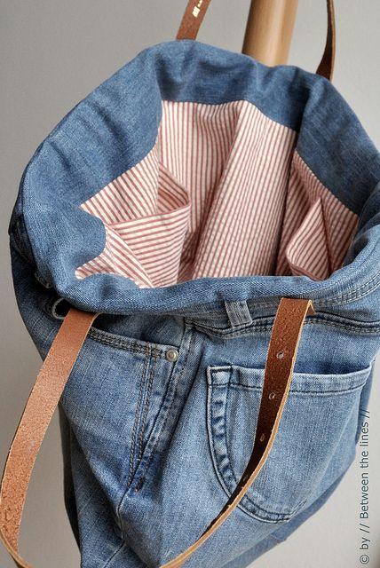 Forro de tecido na bolsa artesanal jeans