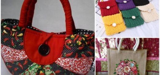 Três modelos de bolsa artesanal