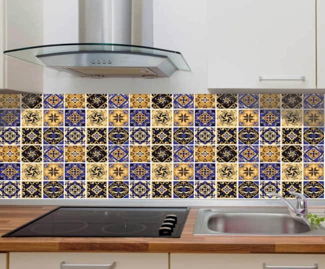 faixa para cozinha com ceramica estampada