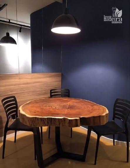 mesa de jantar moderna com tampo de bolacha de madeira