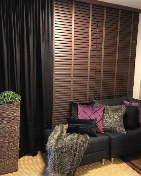 persiana horizontal de PVC imitando madeira