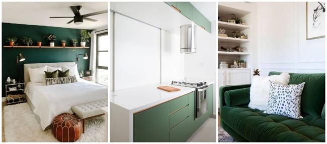 decoração em branco e verde
