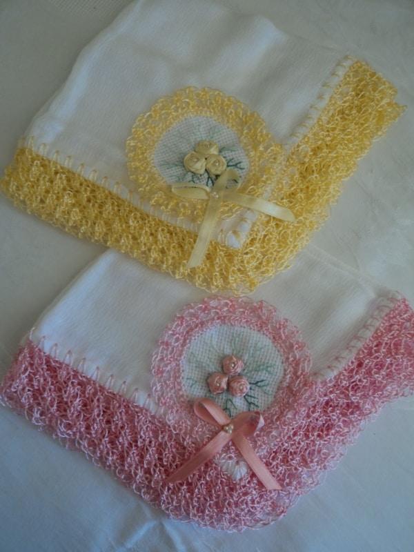 fraldas de algodão para bebê com bordado em fita
