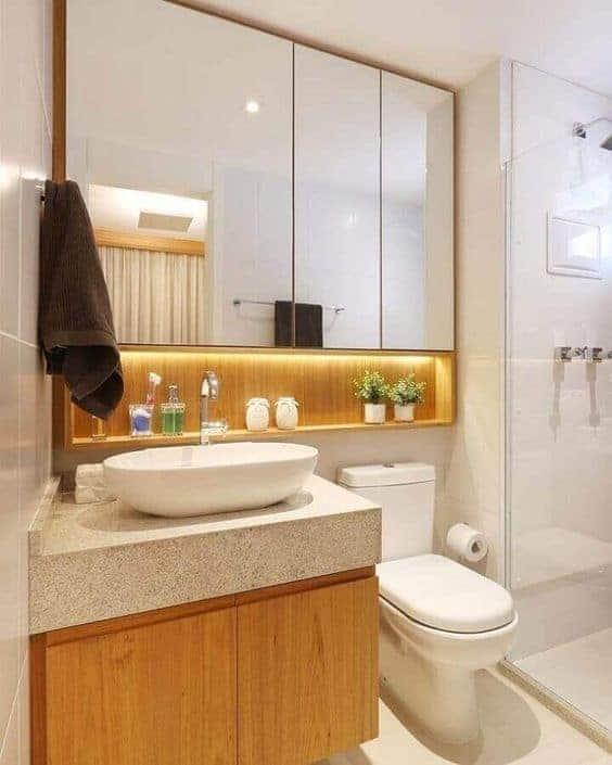 banheiro pequeno com bancada de granito branco siena