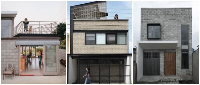 fachadas de casas em blocos estruturais aparentes
