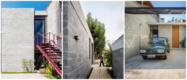 casas construídas de blocos de concreto