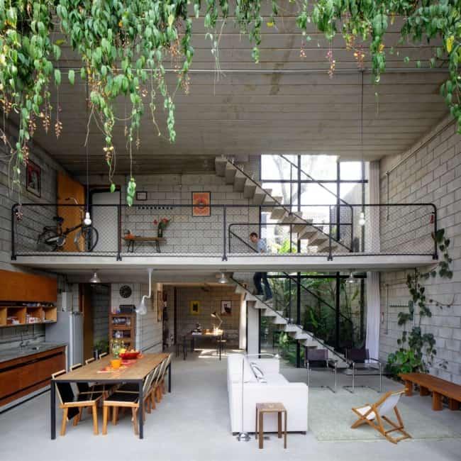 projeto de casa industrial com paredes de blocos de concreto