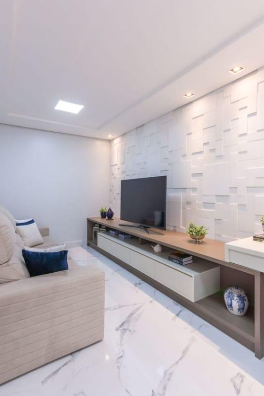 sala branca com parede 3D