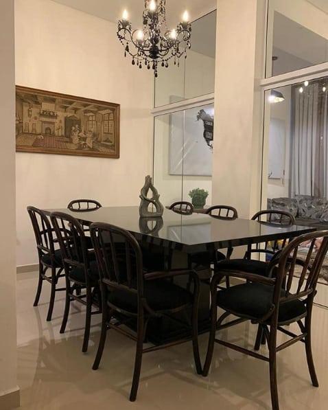 mesa de jantar em granito preto absoluto