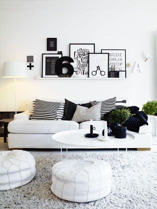 decoração em branco e preto para sala