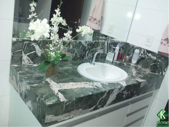 bancada de banheiro verde Ella Green