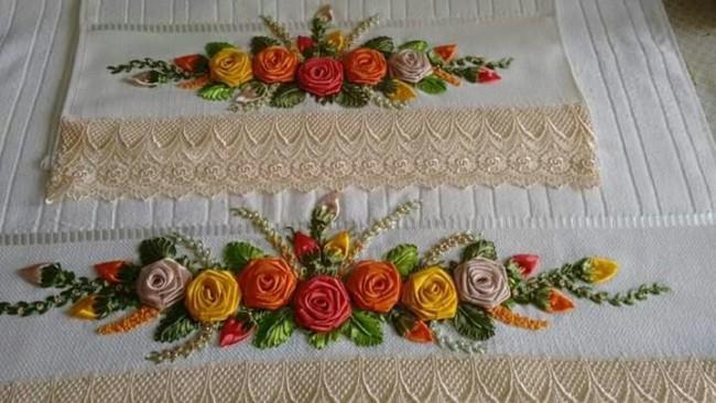 conjunto de toalhas com bordado de flores de fita de cetim
