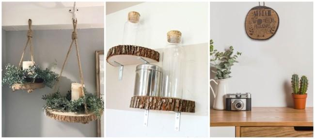 decoração com bolachas de madeira suspensas