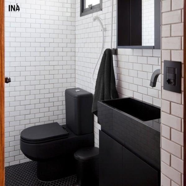 lavabo com bancada de granito preto