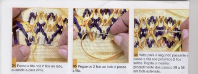 como fazer bordado em fita