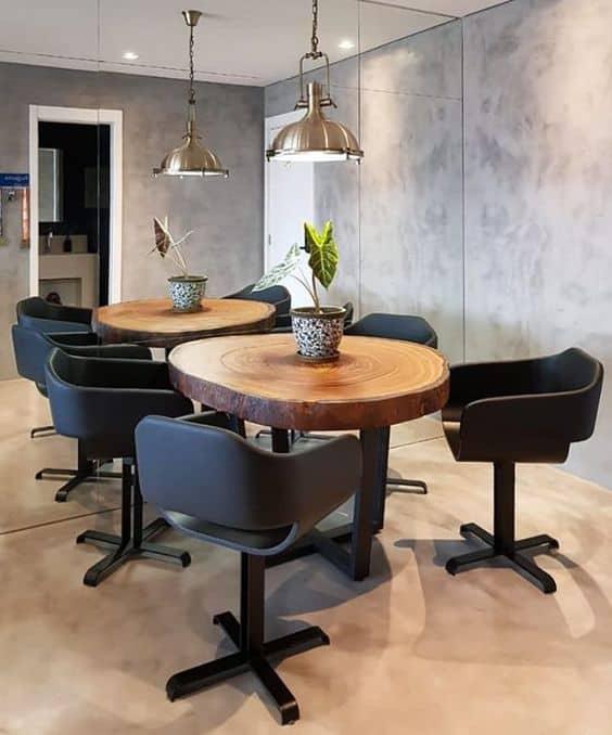 mesa de jantar de bolacha de madeira