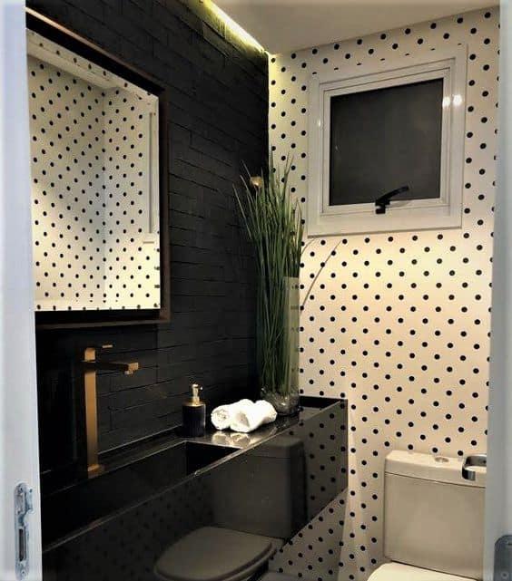 bancada de lavabo pequeno em granito preto polido