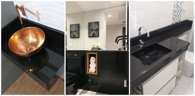 banheiro com granito preto absoluto