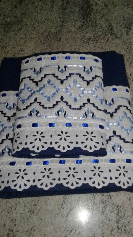jogo de toalhas de banho com bordado em fita