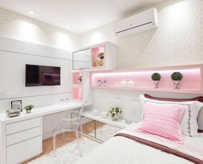 quarto feminino branco e rosa claro
