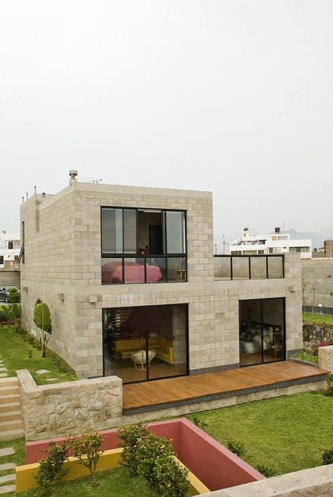 casa com fachada moderna em blocos de concreto