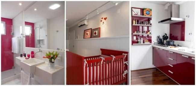 decoração em branco e vermelho